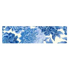 Blue Flower Satin Scarf (oblong) by Brittlevirginclothing
