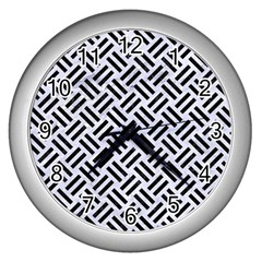 Woven2 Black Marble & White Marble (r) Wall Clock (silver) by trendistuff