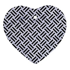 Woven2 Black Marble & White Marble (r) Heart Ornament (two Sides) by trendistuff