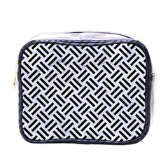 Woven2 Black Marble & White Marble (r) Mini Toiletries Bag (one Side) by trendistuff