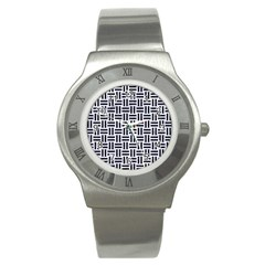 Woven1 Black Marble & White Marble (r) Stainless Steel Watch by trendistuff