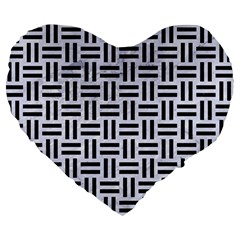 Woven1 Black Marble & White Marble (r) Large 19  Premium Flano Heart Shape Cushion by trendistuff