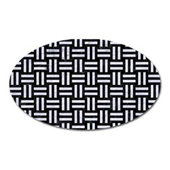Woven1 Black Marble & White Marble Magnet (oval)