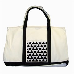 Triangle3 Black Marble & White Marble Two Tone Tote Bag by trendistuff