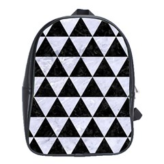 Triangle3 Black Marble & White Marble School Bag (xl) by trendistuff