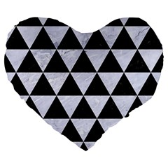 Triangle3 Black Marble & White Marble Large 19  Premium Flano Heart Shape Cushion by trendistuff