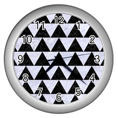 Triangle2 Black Marble & White Marble Wall Clock (silver) by trendistuff