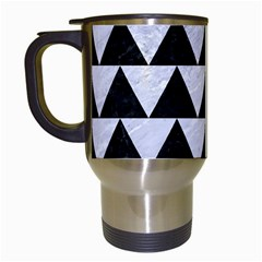 Triangle2 Black Marble & White Marble Travel Mug (white) by trendistuff
