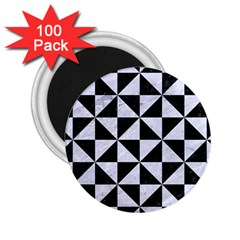 Triangle1 Black Marble & White Marble 2 25  Magnet (100 Pack)  by trendistuff