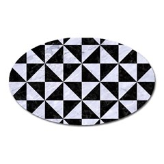 Triangle1 Black Marble & White Marble Magnet (oval)