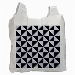 Triangle1 Black Marble & White Marble Recycle Bag (one Side) by trendistuff