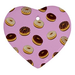 Donuts Pattern   Pink Ornament (heart)