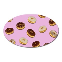 Donuts Pattern   Pink Oval Magnet by Valentinaart