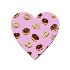 Donuts Pattern   Pink Heart Magnet