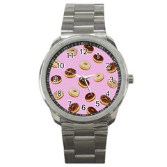 Donuts Pattern   Pink Sport Metal Watch by Valentinaart