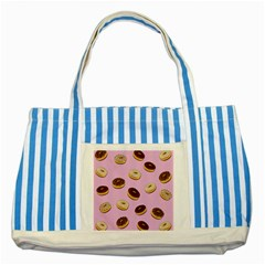 Donuts Pattern   Pink Striped Blue Tote Bag by Valentinaart