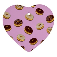 Donuts Pattern   Pink Heart Ornament (two Sides) by Valentinaart