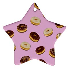 Donuts Pattern   Pink Star Ornament (two Sides) by Valentinaart