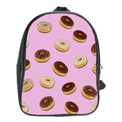 Donuts Pattern   Pink School Bags(large)  by Valentinaart