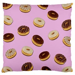 Donuts Pattern   Pink Large Cushion Case (two Sides) by Valentinaart