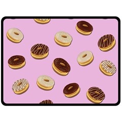 Donuts Pattern   Pink Double Sided Fleece Blanket (large)