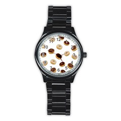 Donuts Pattern Stainless Steel Round Watch by Valentinaart