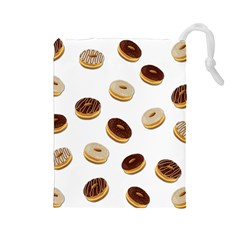 Donuts Pattern Drawstring Pouches (large)  by Valentinaart