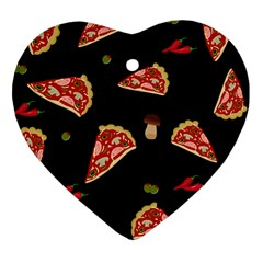 Pizza Slice Patter Heart Ornament (two Sides) by Valentinaart