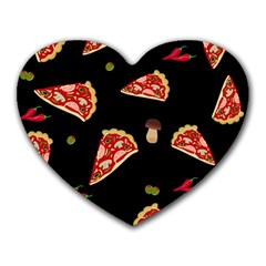 Pizza Slice Patter Heart Mousepads by Valentinaart