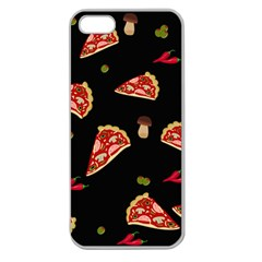 Pizza Slice Patter Apple Seamless Iphone 5 Case (clear) by Valentinaart
