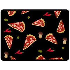 Pizza Slice Patter Double Sided Fleece Blanket (large)  by Valentinaart