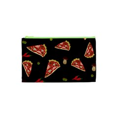 Pizza Slice Patter Cosmetic Bag (xs) by Valentinaart