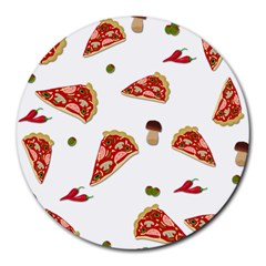Pizza Pattern Round Mousepads by Valentinaart
