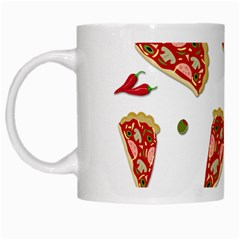 Pizza Pattern White Mugs by Valentinaart