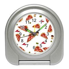 Pizza Pattern Travel Alarm Clocks by Valentinaart