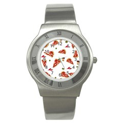 Pizza Pattern Stainless Steel Watch by Valentinaart