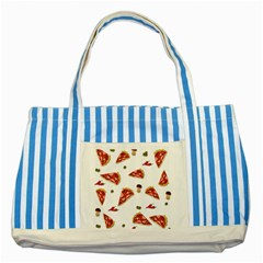 Pizza Pattern Striped Blue Tote Bag by Valentinaart