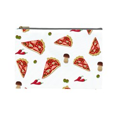 Pizza Pattern Cosmetic Bag (large)  by Valentinaart