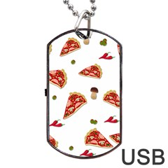 Pizza Pattern Dog Tag Usb Flash (one Side)