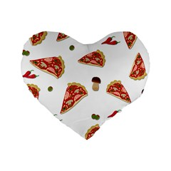 Pizza Pattern Standard 16  Premium Heart Shape Cushions by Valentinaart