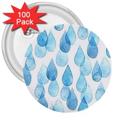 Rain Drops 3  Buttons (100 Pack)  by Brittlevirginclothing