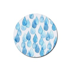 Rain Drops Rubber Coaster (round)  by Brittlevirginclothing