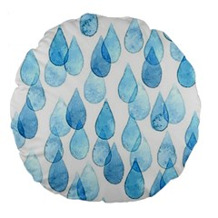Rain Drops Large 18  Premium Flano Round Cushions by Brittlevirginclothing