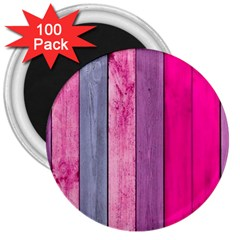 Pink Wood 3  Magnets (100 Pack) by Brittlevirginclothing
