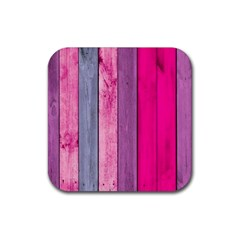 Pink Wood Rubber Square Coaster (4 Pack)  by Brittlevirginclothing