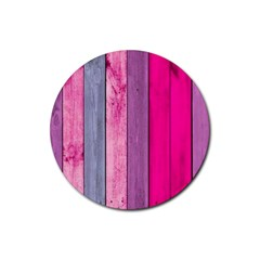 Pink Wood Rubber Coaster (round)  by Brittlevirginclothing
