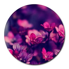 Blurry Flowers Round Mousepads by Brittlevirginclothing