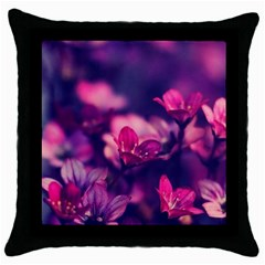 Blurry Flowers Throw Pillow Case (black) by Brittlevirginclothing