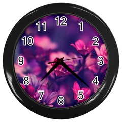 Blurry Flowers Wall Clocks (black) by Brittlevirginclothing