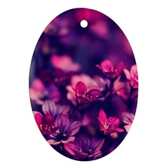 Blurry Flowers Oval Ornament (two Sides) by Brittlevirginclothing